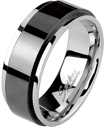 60 Edelstahl Ring Spin mit schwarzer Kette Gr.19