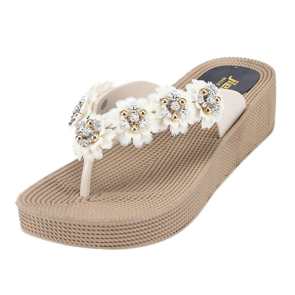 Hot Women Thick-Soled Flower Flip Flops Breathable Lightweight Sandal Outdoor Wear-Resistant Comfortable Wedges (Beige, 6)