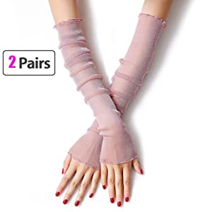 MUYDZ 2 Pair Women's UV Protection Long Lace Gloves Cooling or Warmer Arm Sleeves 2 Purposes Sunscreen Cuffs