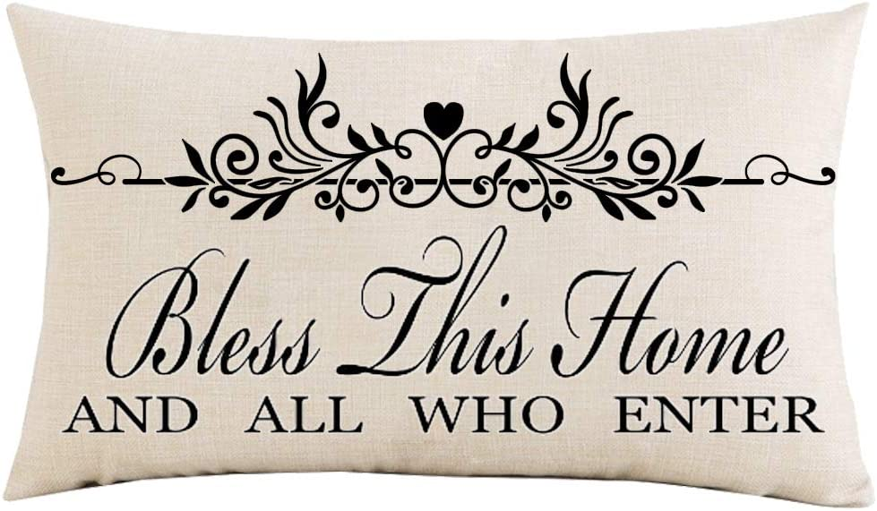 Jimrou Throw Pillow Cover 12x20 inches Festival Gifts Bless This Home and All Who Enter Quote Cotton Linen Decorative Home Sofa Chair Car Lumbar Throw Pillow Case Cushion Cover