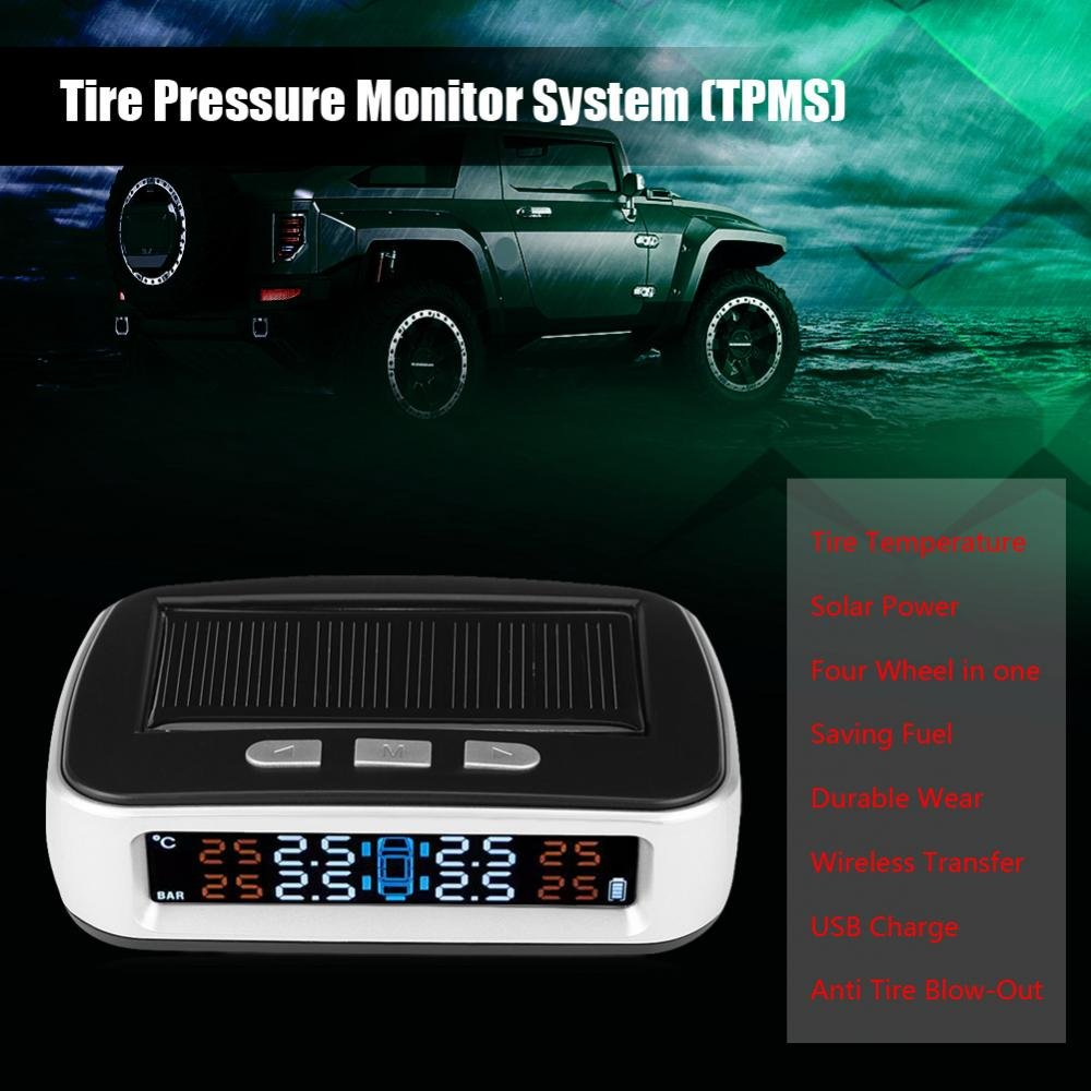 Solar Power TPMS, Keenso Wireless Tire Pressure Monitoring System With 4 External Cap Sensors(0-8bar), Display 4 Tires' Pressure and Temperature by Keenso (Image #6)