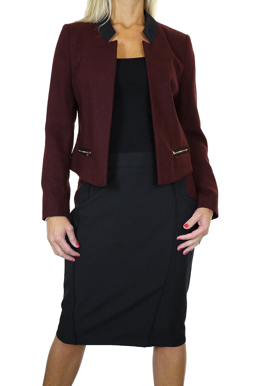 ICE (6352) Open Bolero Tweed Jacket Skirt Suit Burgundy Black