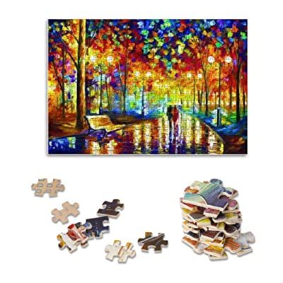 Adults Puzzle 1000 Piece Jigsaw Puzzle Rain Night Walk, Thicker Wooden Puzzle Famous Art Oil Painting Difficult Puzzle Game, Home Decor 70 x 50 cm: Toys & Games