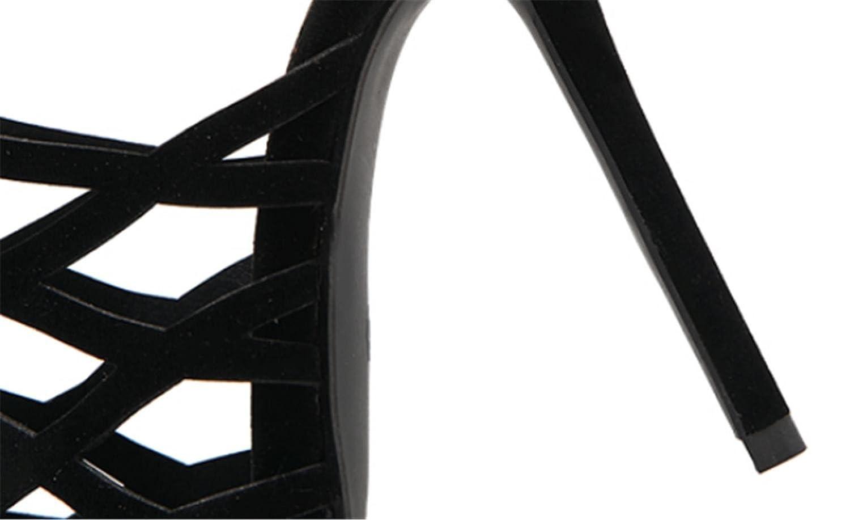 MNII Sandale Damenschuhe Suede Sandale GüRtel Mit GüRtel GüRtel Sandale Offenen Fuß High Heel Zu Blockieren- Sommermode schwarz 924842
