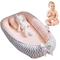 Baby Lounger Nest,Portable Crib and Bassinet Perfect for Co Sleeping,Super Soft and Breathable Newborn Lounger Cushion Suitable from 0-12 Months - Detachable & Machine Washable (A)