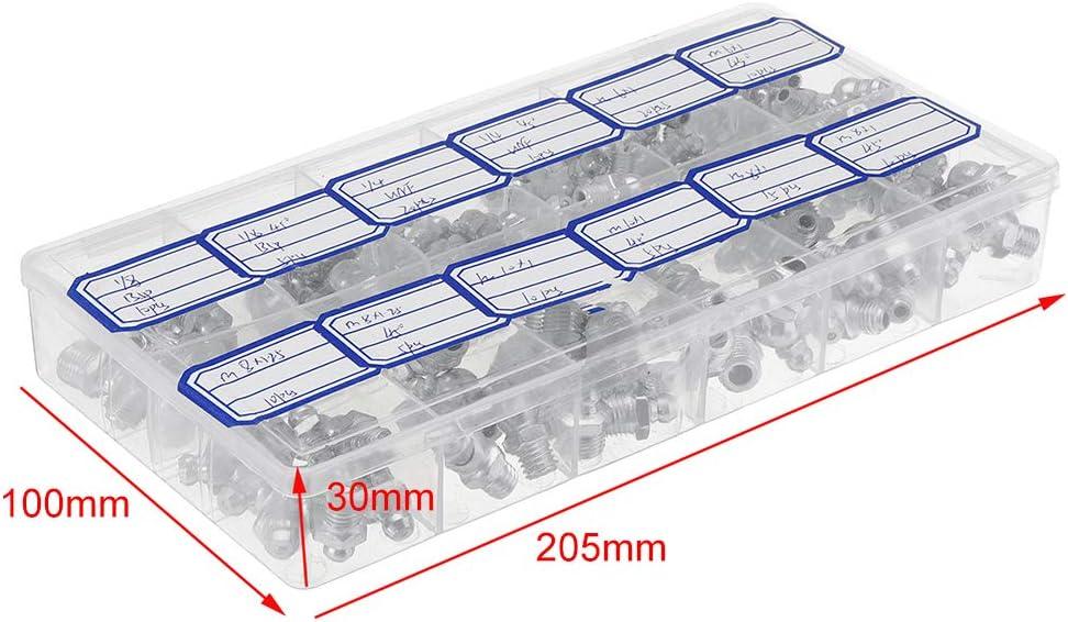 Schmiernippel aus verzinktem Metall Schmiernippel-Fitting-Sortiment-Kits Fitting Metrisch Imperial BSP UNF M6 M8 M10 45 /° Silber sazoley 130-tlg