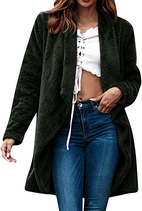 AmeriMark Womens Long Cardigan Coat Open Front Jacket with Faux Fur Collar
