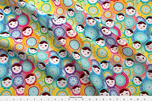 Spoonflower Matrioshka Fabric - Matrioshka Nesting Doll Doll Dolls Kawai Kawaii Matryoshka - by Ekaterinap Printed on Linen Cotton Canvas Ultra Fabric by The Yard