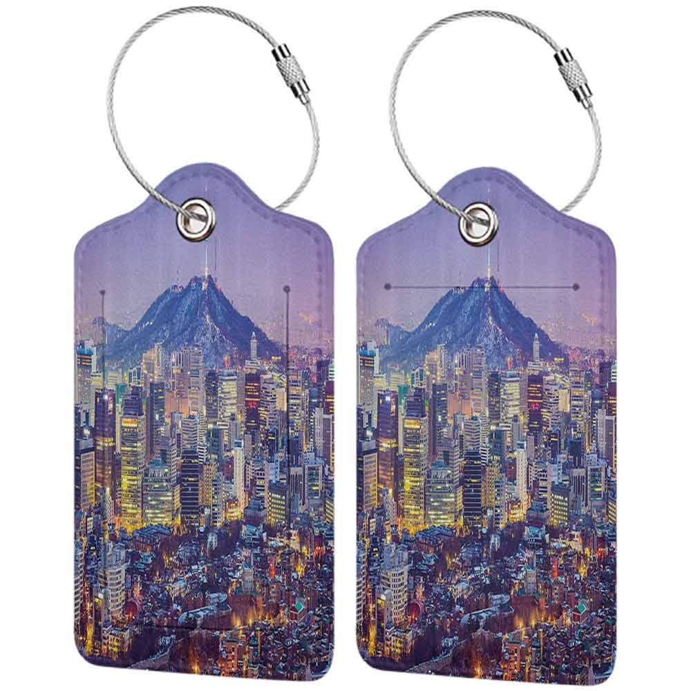 Personalized luggage tag Modern Skyline of Seou South Korea Cityscape with Buildings Skyscrapers Urban View at Night Easy to carry Multicolor W2.7 x L4.6