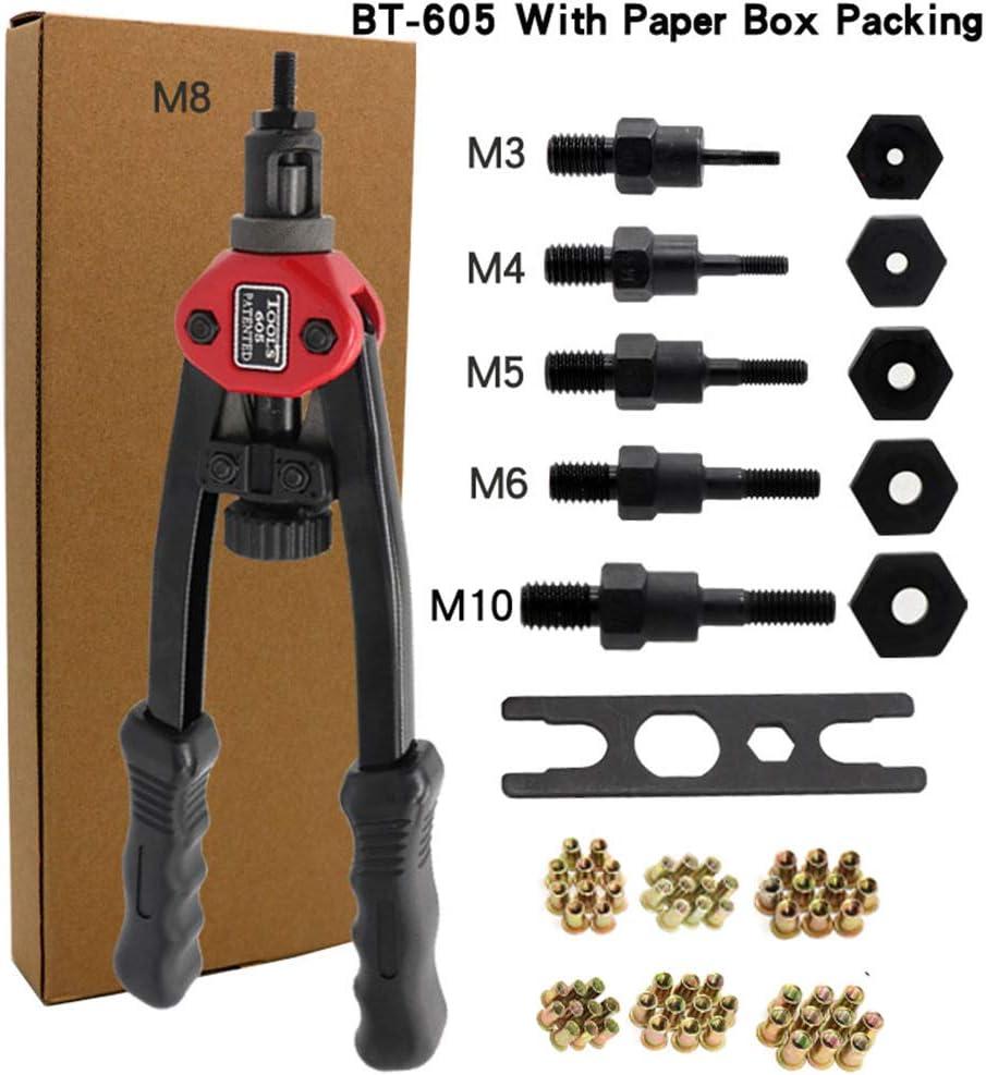 M6 M10 M8 M5 M4 Pistole a dadi per rivetti filettati a mano con dadi 60PCS Utensile per ribattini automatico facile da premium Bt-605 Set 60 pezzi per dado M3