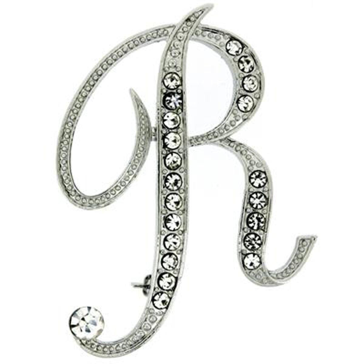 Pynk Jewellery Initiale Lettre R Cristal Swarovski Broche 2524