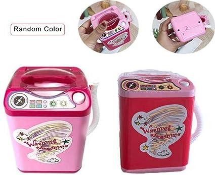 Mini Laundry Washing Machine Pretend Play Toy for Kids Girls Color Random