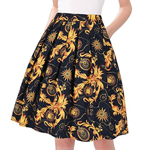 Taydey A-Line Pleated Vintage Skirts for Women (L, Yellow Floral) ()