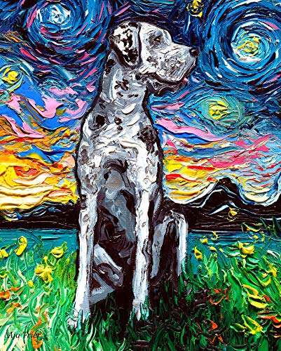 Merle Great Dane Starry Night Rectangle Art Print Cute dog artwork by Aja cute colorful van Gogh wall decor choose size and type of paper
