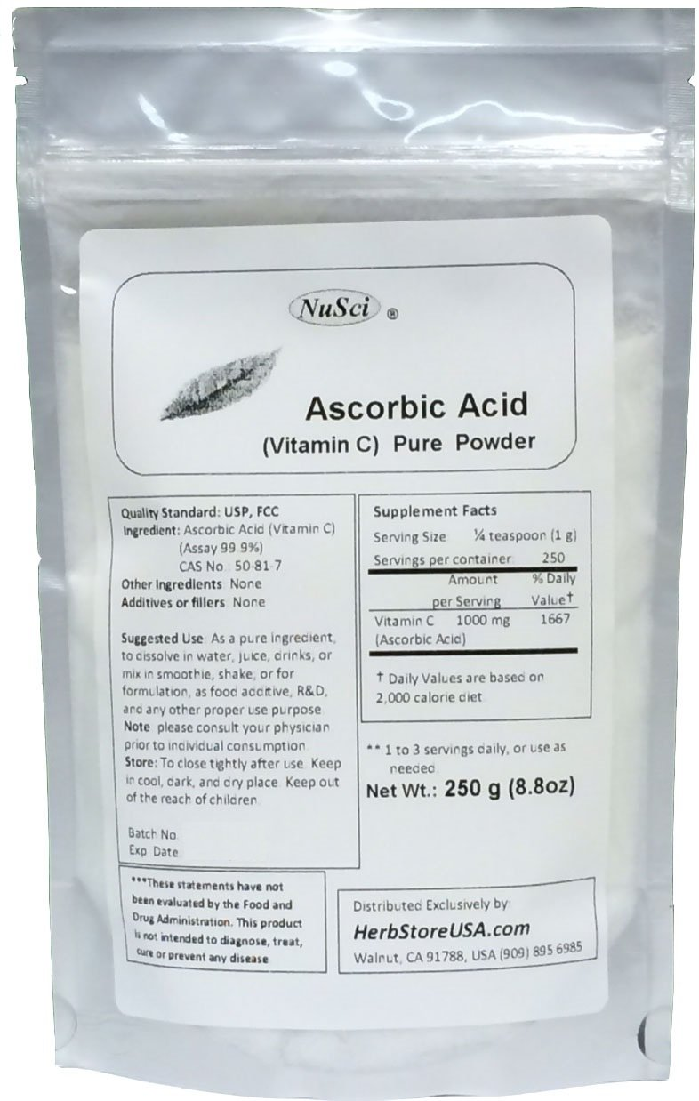 Amazon.com: NuSci 100% Pure Vitamin C Ascorbic Acid Powder USP ...
