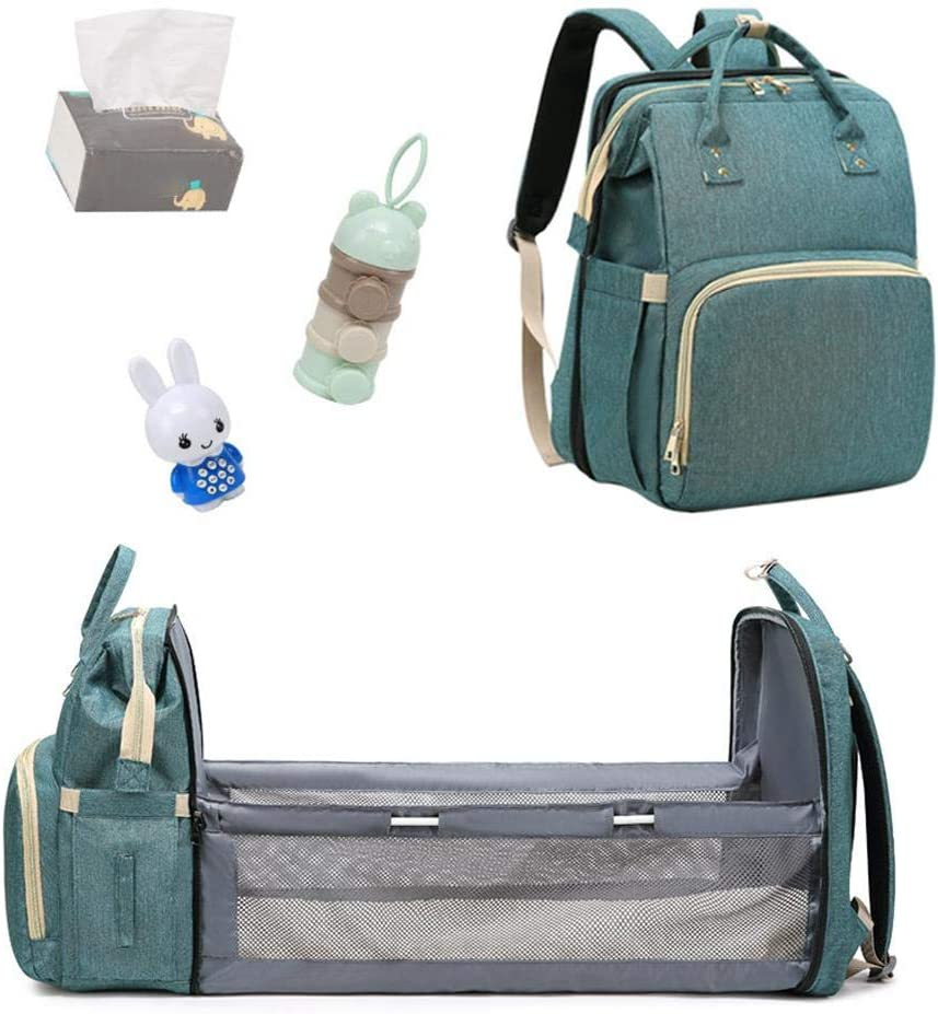 osmanthus Baby Diaper Bag Bed Portable Diaper Changing Station Mummy Bag Backpack For New Mom And Dad 4 In 1 Multifunctional Baby Travel Foldable Cot