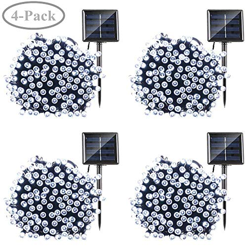 Qedertek Solar String Lights, 72ft 200 LED Fairy Lights, 8 Modes Ambiance Lighting for Outdoor, Patio, Lawn, Landscape, Garden, Home, Wedding (4 Pack, Cool White)