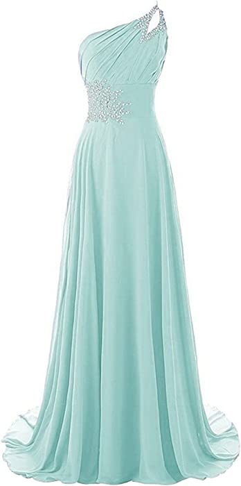 Long A Line Beaded One Shoulder Formal Corset Prom Evening Dresses