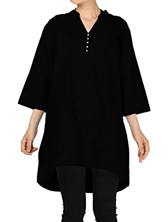 accc9e63 Mordenmiss Women's Cotton Linen Blouse V-Neck Tunic Tops 3/4 Sleeve Shirt  Clothing