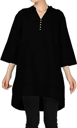 Mordenmiss Women's V-Neck Linen Blouse High Low Tunic Tops