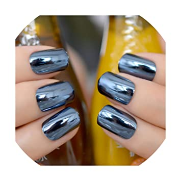 Mirror Silver False Nails Acrylic Nail Tips 24pcs/kit, Navy blue