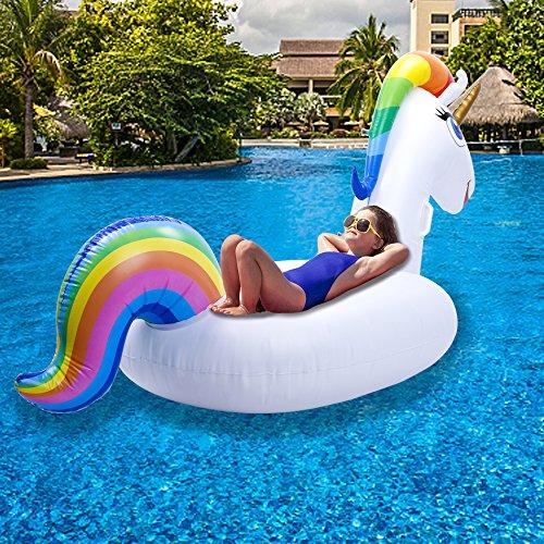 Flotador Piscina - Unicornio Hinchable Colchonetas Piscina, Flotador Unicornio Piscina, Inflable Gigante Juguete Para Fiesta De Piscina Con Válvula Rápida ...