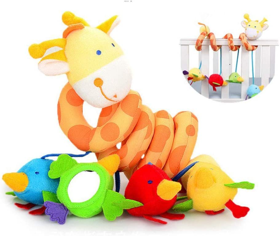 Girls Giraffe Aroland Baby Pram Toys Spiral Activity Hanging Toys Stroller Toy Car Seat Bed Hanging Toys with Ringing Bell for 0-6 Months Baby Boys