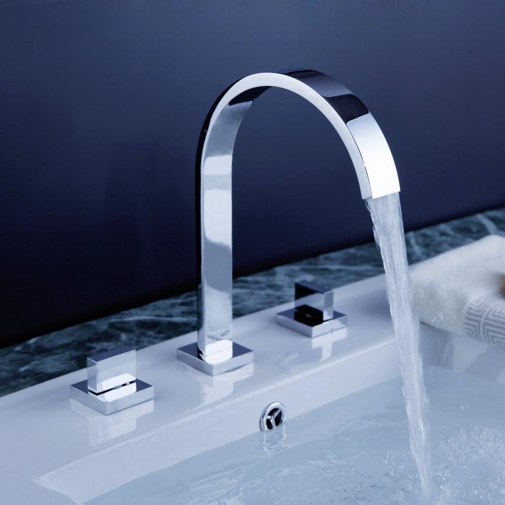 Homevacious Widespread Bathroom Sink Faucet Chrome 8-16 Inch 3 Holes 2 Handles Waterfall Bath Lavatory Modern Faucet Long Spout Deck Mount Ceramic Valve Hot and Cold Mixer Tap by Homevacious