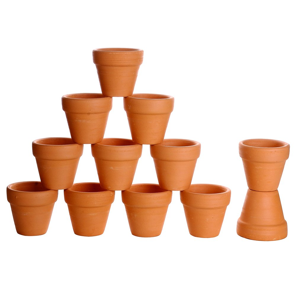Winlyn 12 Pcs Small Mini Clay Pots 2 Terracotta Pot Clay Ceramic Pottery Planter Cactus Flower Pots Succulent Nursery Pots- Great for Plants,Crafts,Wedding Favor