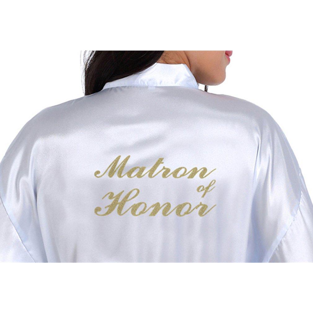 BOYANN Dama de Honor Estampado en Caliente Ropa de Dormir Sexy Batas y Kimonos de Satén, Blanco XL: Amazon.es: Ropa y accesorios
