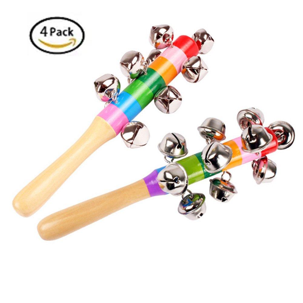 4 Pcs Vivid Color Rainbow Handle Wooden Bells Jingle Stick Shaker Rattle Baby Kids Children Musical Toys JIAHUI