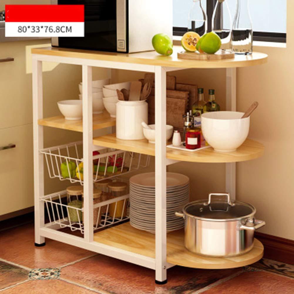 TISESIT INDOOR Microwave Oven Stand, Kitchen Cupboard, Storage Organization Rack Kitchen Utility Workstation Standing Shelf,B by TISESIT INDOOR