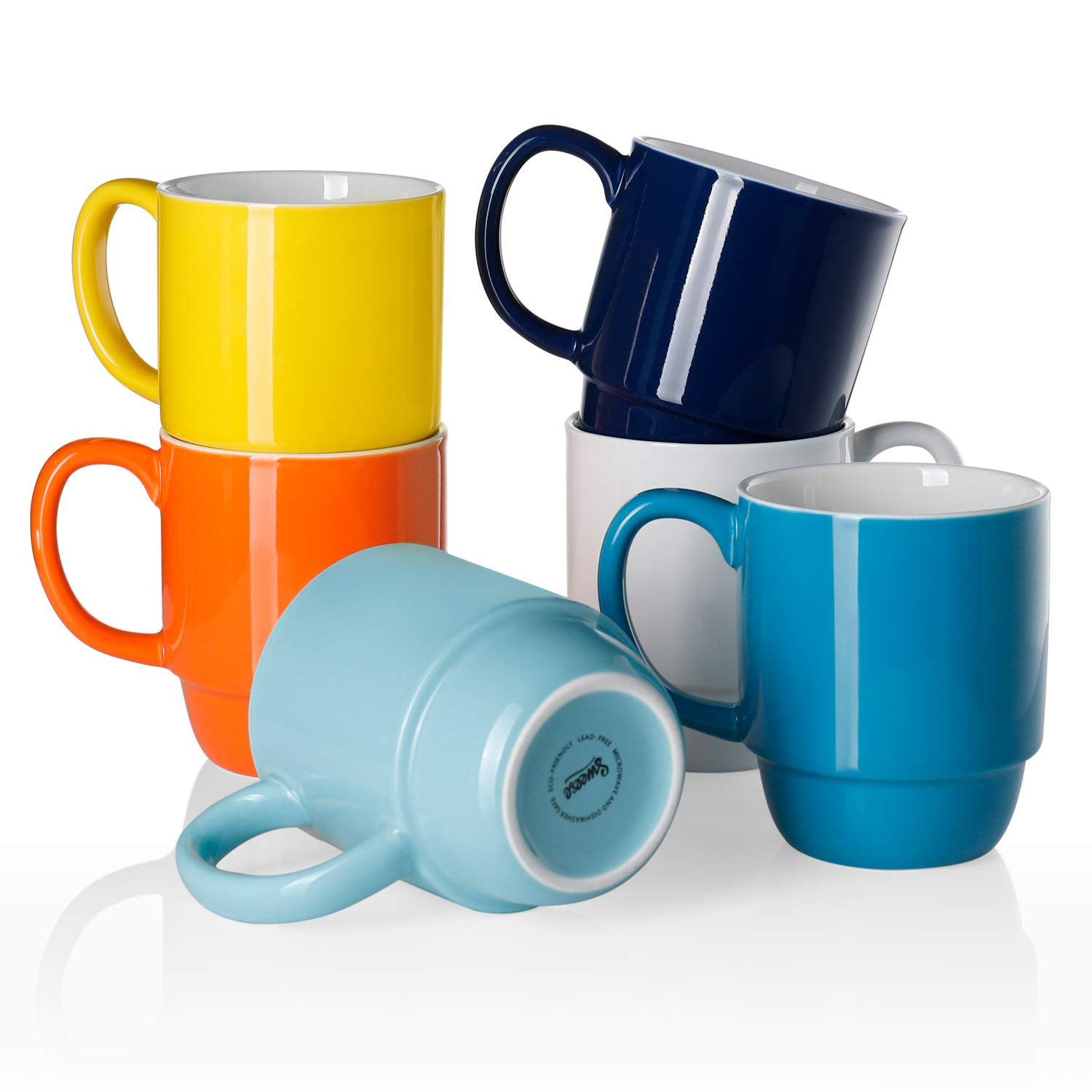 Tea 16 Ounce Porcelain Coffee Cup Sets for Coffee LIFVER Stackable Coffee Mugs Set of 6 Milk