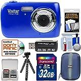 Vivitar ViviCam F126 Digital Camera (Blue) with 32GB Card + Case + Tripod + Kit