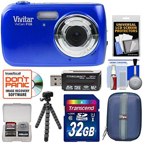 Vivitar ViviCam F126 Digital Camera (Blue) with 32GB Card + Case + Tripod + Kit Digital Blue Vivitar Vivicam
