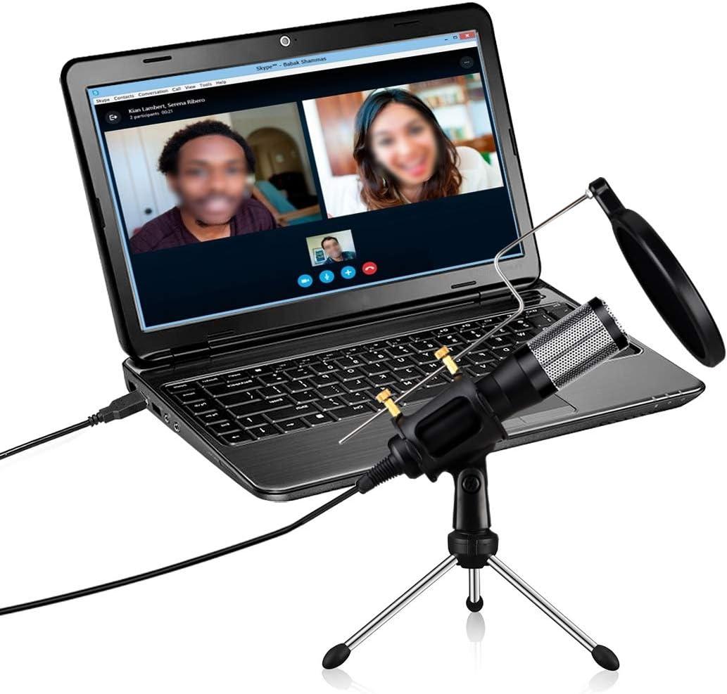 Plug and Play Home Studio Micr/ófono Juegos Micr/ófono de Condensador #1 Skype Podcasting para Youtube SLT Micr/ófono USB Micr/ófono de Computadora Filtro ac/ústico de Doble Capa