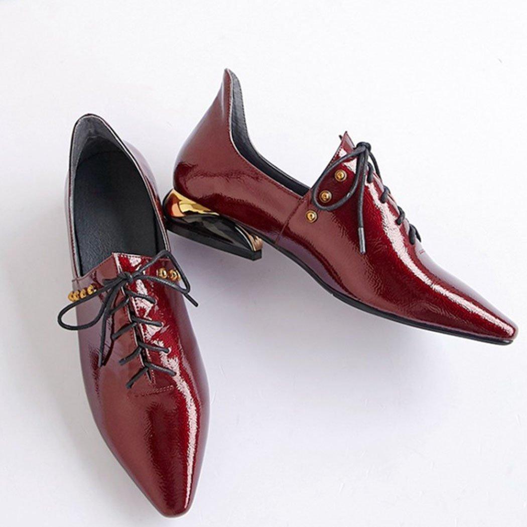 GAOLIXIA Damen Damen Damen GAOLIXIA Spitz Echtem Leder Schuhe High Heels Pumps Fashion Britischen Wild Work Schuhe Gericht Schuhe Burgund 6cd3d7