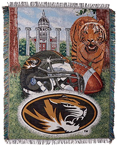 "The Northwest Company Officially Licensed NCAA Missouri Tigers Home Field Advantage Woven Tapestry Throw Blanket, 48"" x 60"""