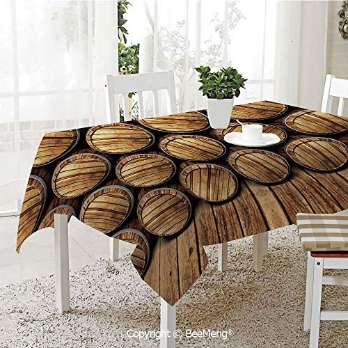 - Large dustproof Waterproof Tablecloth,Family Table Decoration,Man Cave Decor,Wall of Wooden Seem Barrels Cellar Storage Winery Rum Container Stack,Broen Light Brown,70 x 104 inches