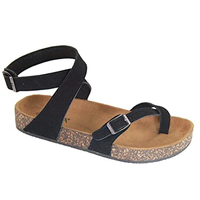 073ec09ff Womens Slip On Ankle Wrap Cork Sole Slide Sandal with Buckle