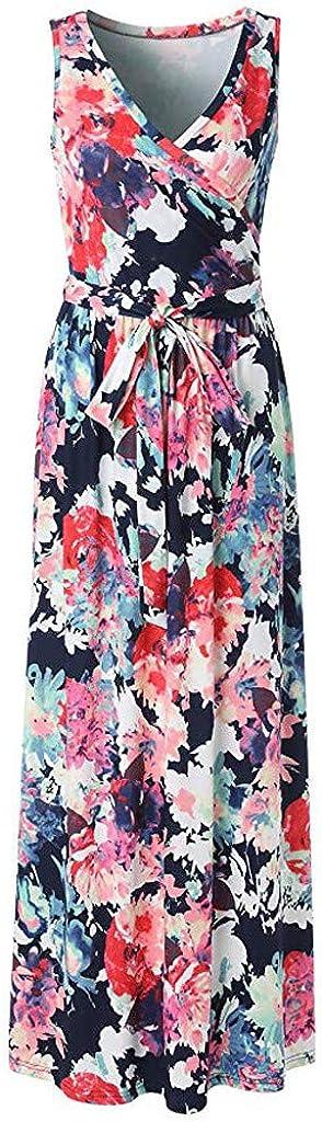 BCDshop Women Vitage Floral V-Neck Wrap Bodice Sleeveless Belted Long Maxi Dress