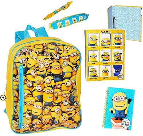 Minions - gefüllter Rucksack -  Ich einfach unverbesserlich  - incl. Name - Kinderrucksack / groß Kind - Minion - Jungen Mädchen - Schulrucksack gefüllt - groß - z.B. für Kindergarten / Vorschule / VjXPvs