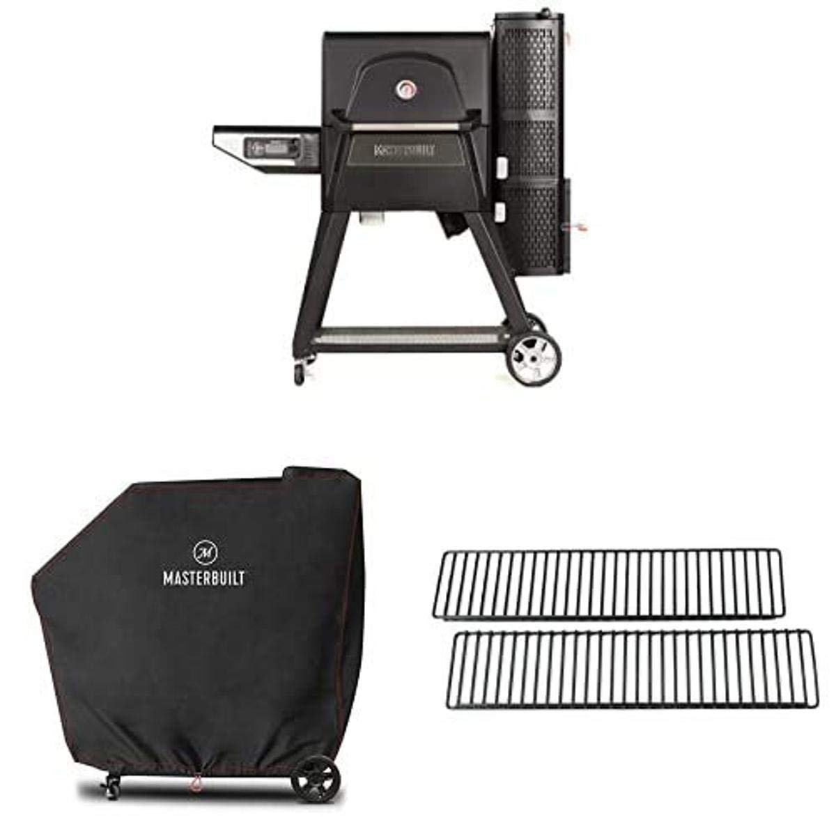 Masterbuilt Gravity Series 560 Digital Charcoal Grill + Smoker with 2 Warming Rack and Grill Cover Bundle
