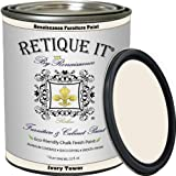 Retique It Chalk Furniture Paint by Renaissance DIY, 32 oz (Quart), 02 Ivory Tower-Antique White, 32 Fl Oz