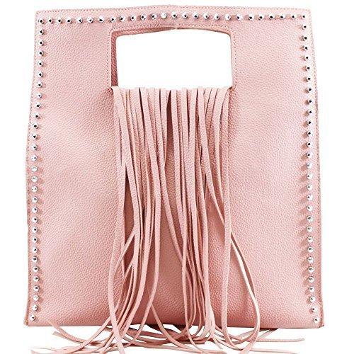 un sac 's Rose synthétique clous cuir carrée haute sac Gris forme neuf pour Large pour dans Frange femme DIVA argentés aqRZw