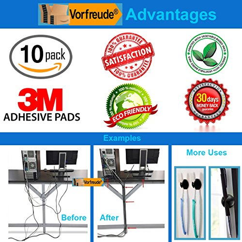 Vorfreude 10 Pack Cable Clips & Cord Management Drops 3M Self Adhesive Stick On Organizer for Car, Ethernet, PC, USB, iPhone, HDMI, or Desk (Single Rabbit) Black Photo #10