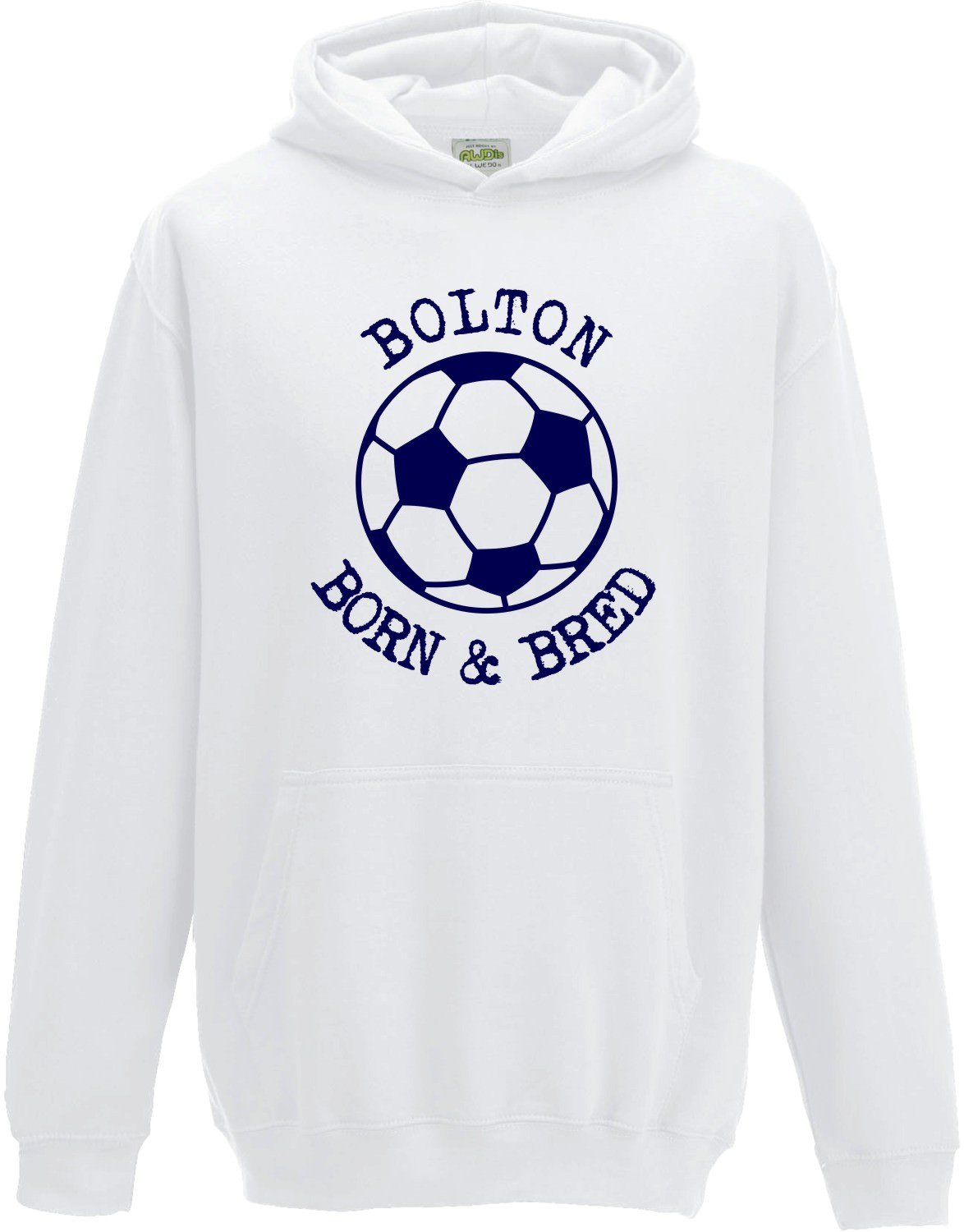 Hat-Trick Designs Bolton Wanderers Football Baby/Kids/Childrens Hoodie Sweatshirt-White-Born & Bred-Unisex Gift