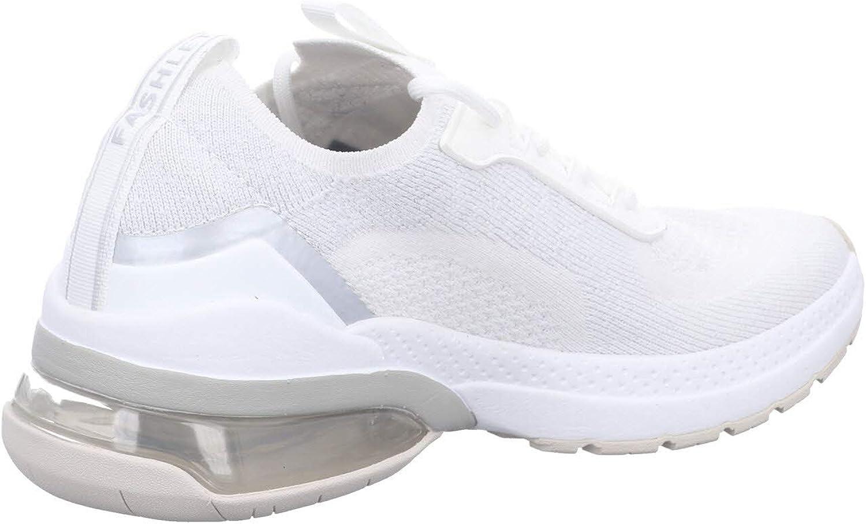 Tamaris Femme Chaussures à Lacets, Dame Chaussures de Sport,Semelle Amovible Argenté Blanc
