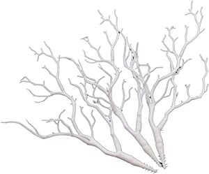 "Lychee 3pcs Plastic Artificial Dry Plant Tree Branch White Wedding Home Decor 14"""