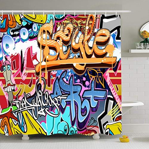 Ahawoso Shower Curtain for Bathroom 72x72 Colorful Grafiti Graffity Sketch Wall Street Grafitti Abstract Graffiti Graffitti Urban Rap Graphitti Waterproof Polyester Fabric Bath Decor Set with Hooks (Graffity Cool)